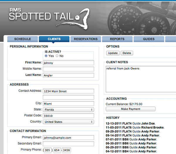 Spotted Tail RMS client info for fishing guides