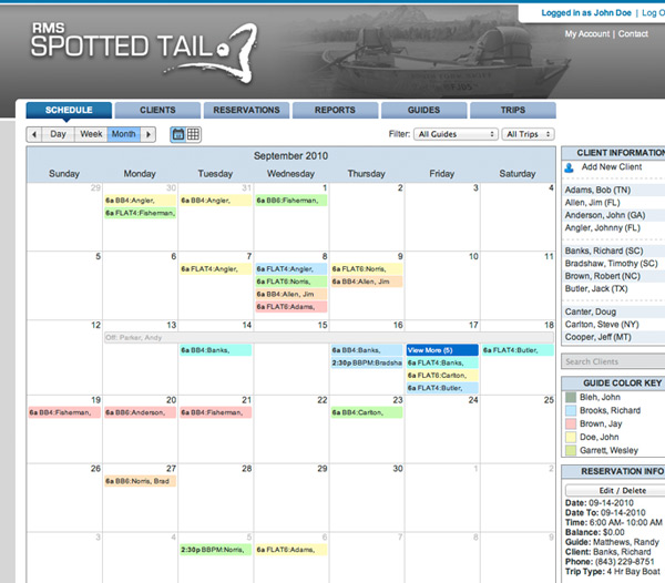 Spotted Tail RMS reservations schedule for fishing guides
