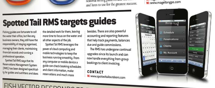 Spotted Tail RMS mobile app for fishing guides featured in October issue of Angling International