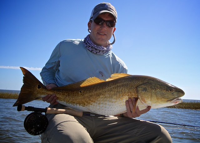 bull redfish caught on a fishing trip with Spotted Tail Outdoors